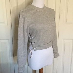 Tops - crop laced/tied crewneck pullover sweater